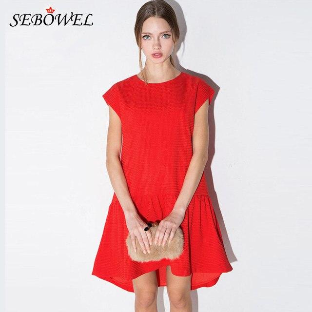 d44af85325e6 2016 Look Sottile Rosso Donna Breve Posteriore Lungo Anteriore Del Vestito  Casuale allentato Estate Vestito Rosso