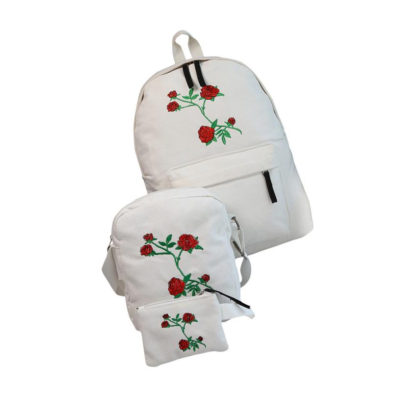 3PCS Women Girls Embroidery Rose School Bag Travel Backpack Bag Crossbody Shoulder Bag Small Purse Wholesale Drop Shipping #T