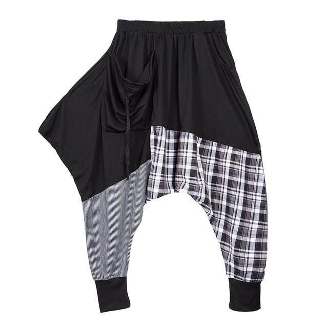 40b43b453eb2f Casual Harajuku Boyfriend Streetwear Plaid Patchwork Elastic Waist Drop  Crotch Harem Pants Women Wide Leg Pants Trousers Capris