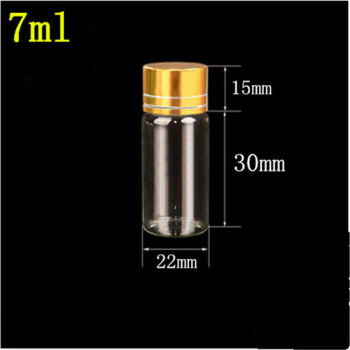 100 pcs 22x45 mm 7 ml Small Glass Bottles With Golden Screw Plastic Cap Transparent Essential Oil Spice Glass Vials