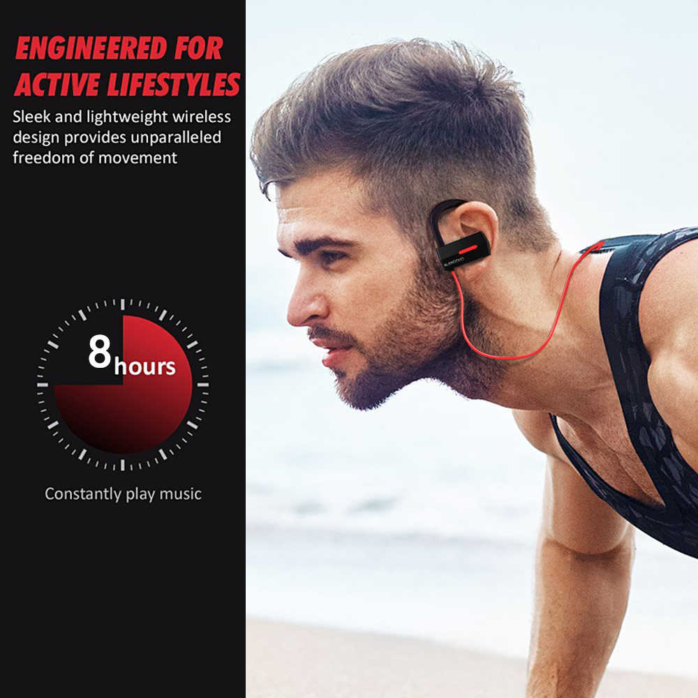 ALANGDUO A1 inalambrico bluetooth ヘッドセット防水ワイヤレススポーツ低音 Ecouteur auriculares Bluetooth V4.1 イヤホンとマイク
