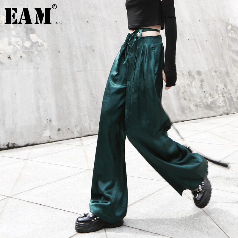 [EAM] 2019 New Spring Summer High Waist Loose Green Drawstring Personality Long   Wide     Leg     Pants   Women Trousers Fashion JY317