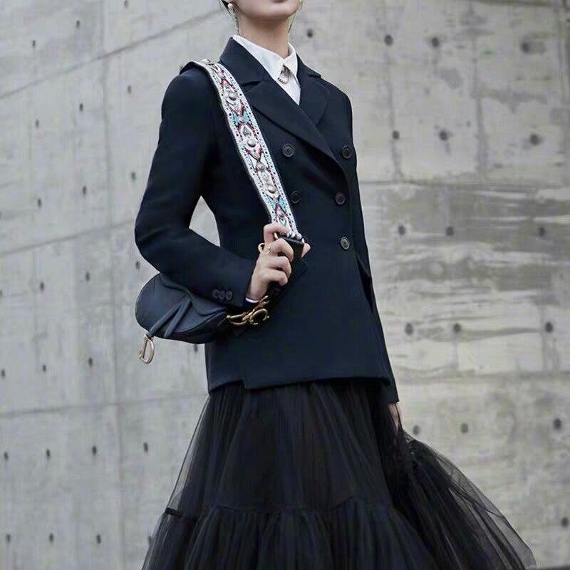 SE Women's Fashion Office Runway Blazer Long Sleeve Double Breasted Jacket Designer Elegant Blazer Femme Ete