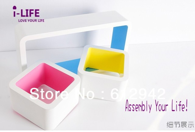 Only Wholesales 100PCS Three Rectangle MDF floating wall shelves/shelf wall mount by ocean shipping