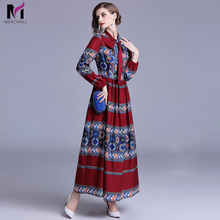 Merchall Designer Dresses Runway 2018 High Quality Print Long Sleeve Tunic Casual Floor-Length Party Robe Femme Longue