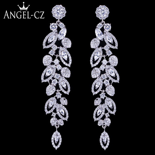 ANEGLCZ Statement CZ Jewelry Elegant Marquise AAA Cubic Zirconia Super Long Dang