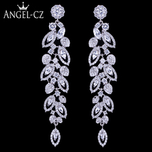 ANEGLCZ Statement CZ Jewelry Elegant Marquise AAA Cubic Zirconia Super Long Dangle Bridal Wedding Drop Earrings For Women AE184