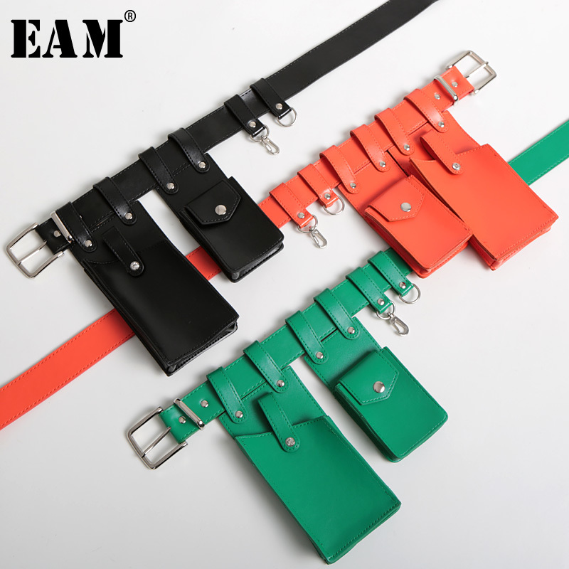 [EAM] 2019 New Spring Summer Pu Leather Green Mini-bag Split Joint Personality Long   Belt   Women Fashion Tide All-match JU004