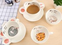Милый мультфильм кошка лапой кружка комплект Творческий кошачьи Керамика кружка Кофе завтрак молоко вода кружка фарфоровая чашка и Таблич...