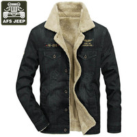 AFS JEEP Brand Winter Jacket Men Thick Warm Wool Liner Denim Jacket Men Jeans Coat Army