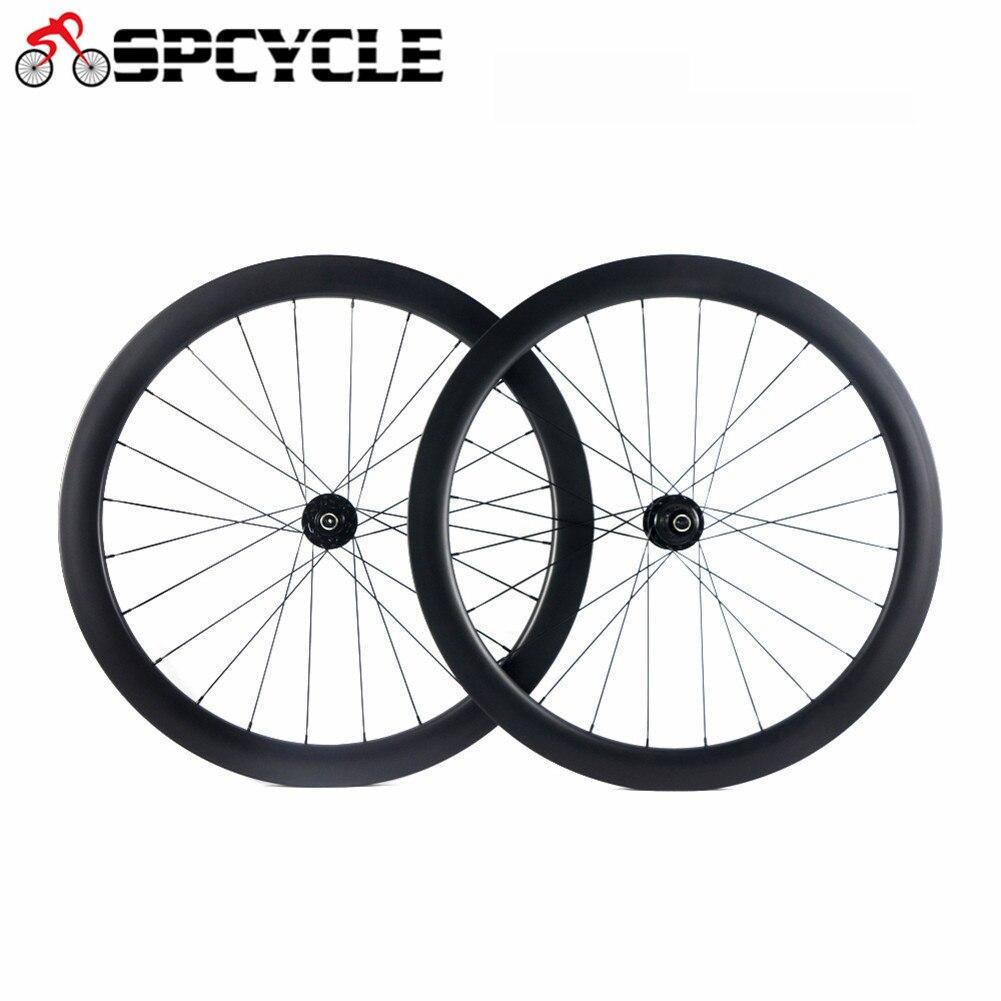 Roues de carbone de vélo de frein à disque de route 700C, roues de pneu de vélo de route de carbone de freins à disque de 50mm largeur 25mm 6 boulons
