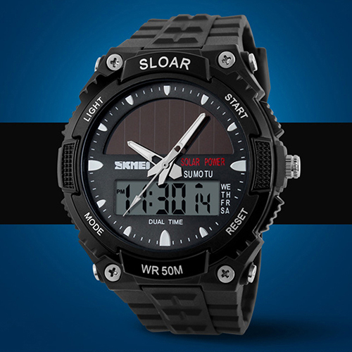 Men Sports Solar Power Dual Time Display Water Resistant Electronic Wrist Watch 2016 large buttons dual power solar