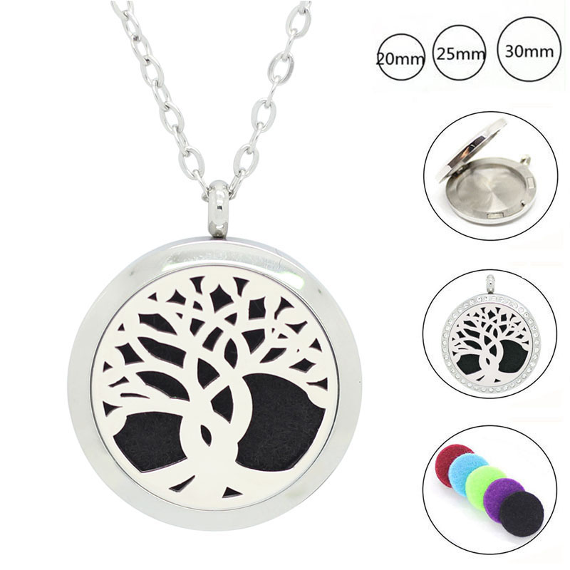 Panpan Jewelry! 30mm aromatherapy locket pendant 316l stainelsss steel oil diffuser necklace perfume locket with crystals