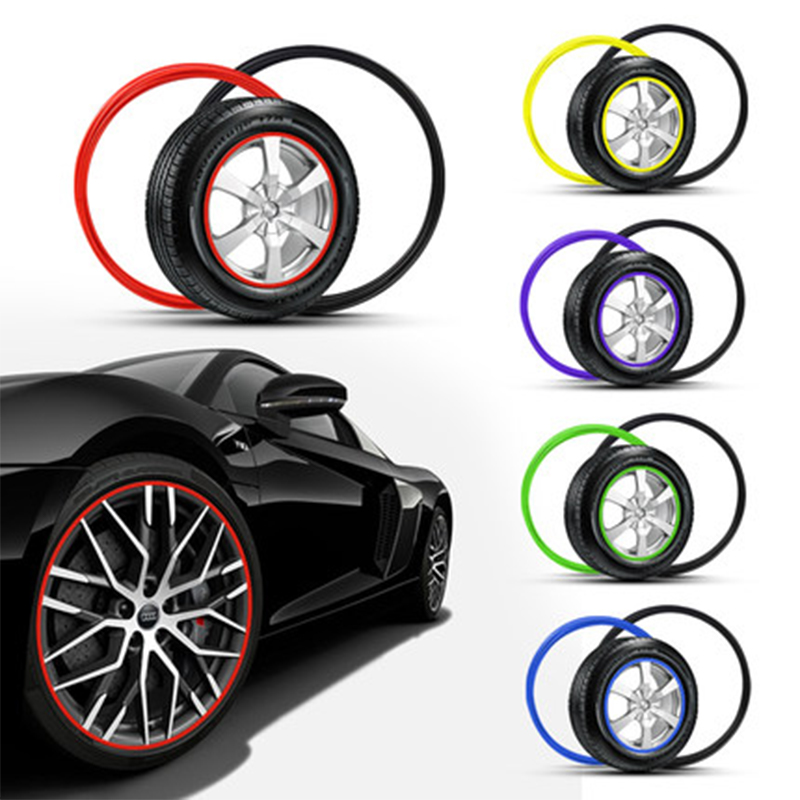 10 Colors 8M/Roll Car Styling Car Wheel Rim Protector Decorative Strip Vehicle Rimblades Tire Guard Line Rubber Moulding Trim