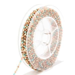 Image 3 - 8 meter Miyuki Zaad Glass Bead Chain 1.8mm Rvs Satelliet Kralen Tiny Ketting Voor Ketting Enkelbandje Armband Maken