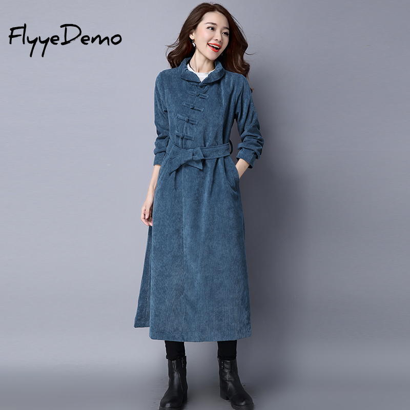 2018 Women   Trench   Coat Autumn Winter Belt Long Chinese Style Outerwear Single Breasted Blue Black Corduroy   Trench   Coat