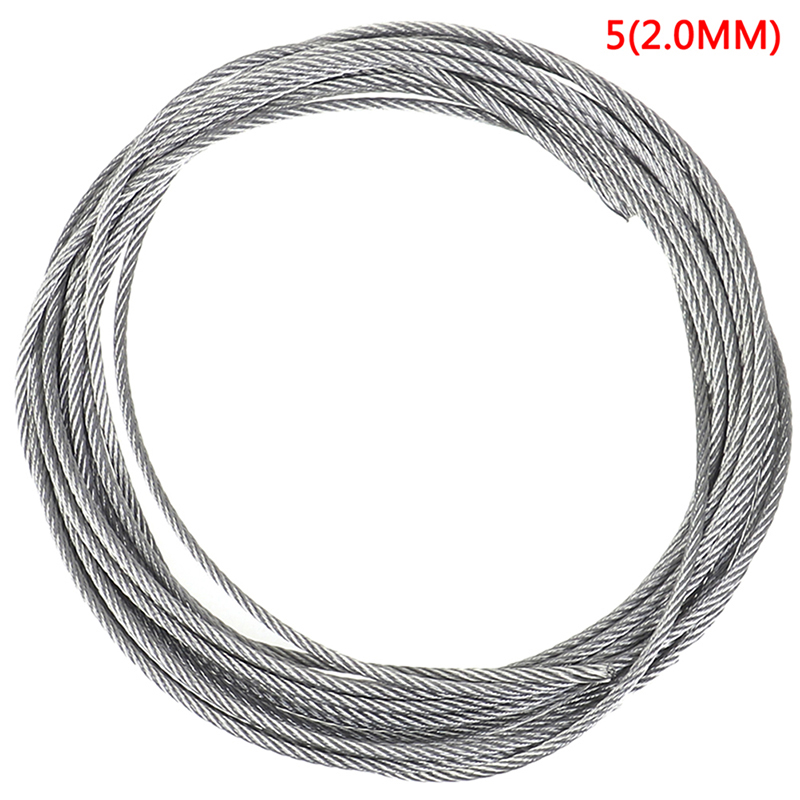 304 Stainless Steel Soft Wire Rope 5m Soft Fishing Lifting Cable Clothesline 7*7 Structure Diameter 0.5mm 1mm-3.0mm Wholesale