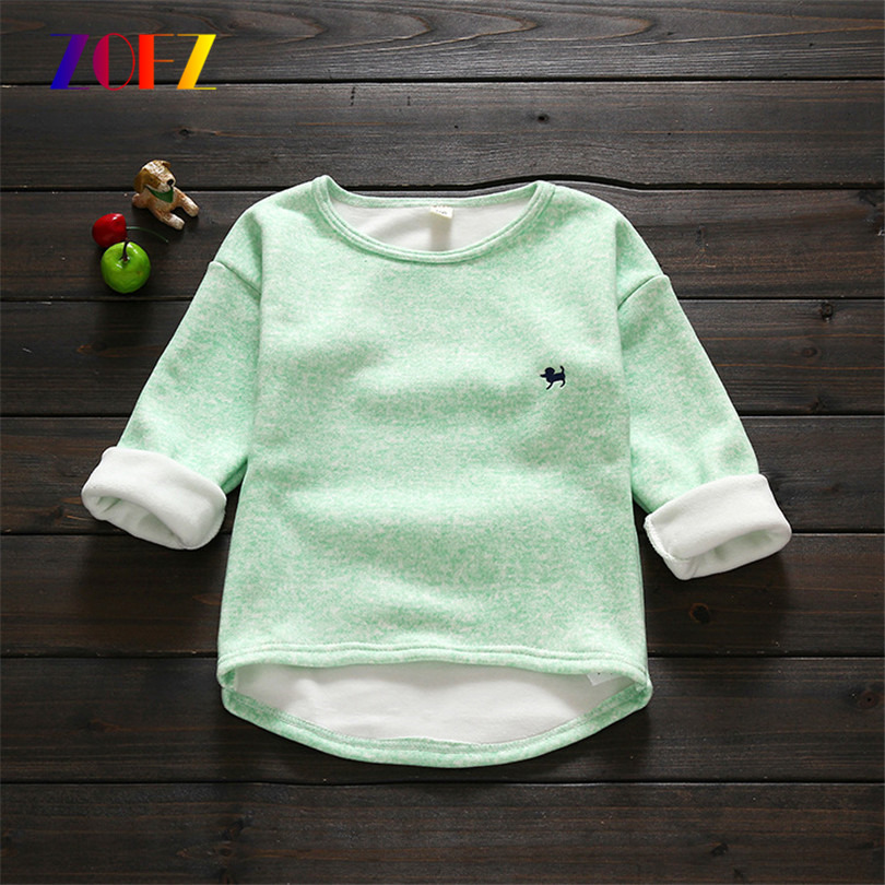 ZOFZ New Spring autumn long sleeve T-shirt for Boy Girls tees top children's sweatshirts for kids baby cotton clothing Keep warm