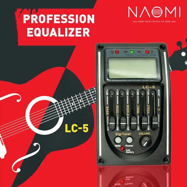 NAOMI Guitar Pickup LC-5 5 Bands EQ Equalizer Acoustic Guitar Preamp EQ Equalizer Tuner Piezo Ceramic Pick-up