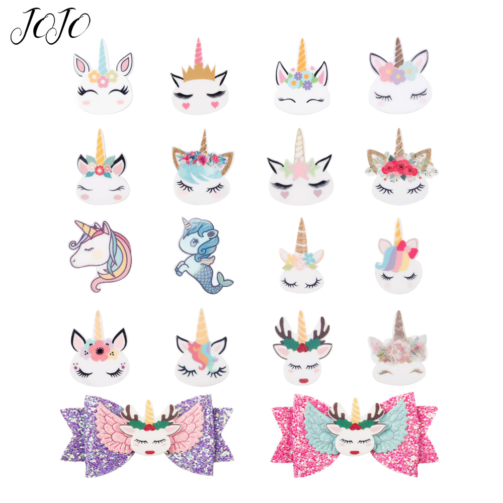 JOJO BOWS 10pcs DIY Craft Supplies Planar Resin Accessories Unicorn Horn Flower For Phone Case Handamde Earring Decor Material(China)