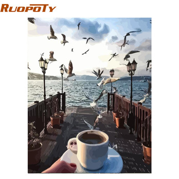 RUOPOTY Frame Picture Seagull DIY Painting By Numbers Hand Painted Oil Painting Modern Wall Art Picture For Home Decors 40x50cm gatyztory frameless picture diy painting by numbers animals modern picture canvas by numbers for home wall art decors 40x50cm