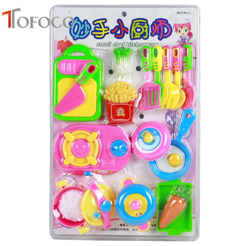 TOFOCO 17pcs Kids Pretend Kitchen Play Toy Set Simulated Kitchen Tableware Pretend Role Play Toy Kitchen Tool Children Games