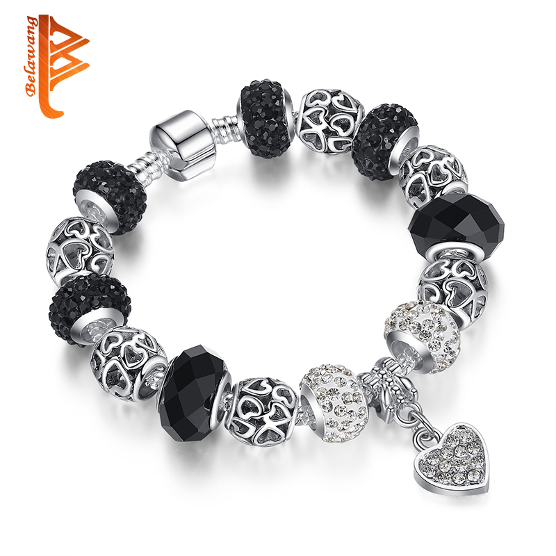 BELAWANG 925 Silver Crystal Charm Bransoletka dla kobiet Silver Chain Snake & Murano Glass Black Beads Bracelet Authentic Jewelry
