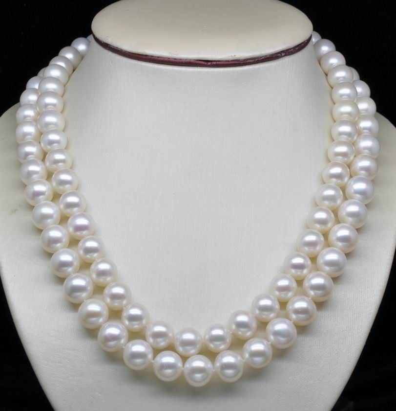 Natural Double Strand AAA+ 7-8MM WHITE PEARL NECKLACE WITH ROSE CLASPNatural Double Strand AAA+ 7-8MM WHITE PEARL NECKLACE WITH ROSE CLASP