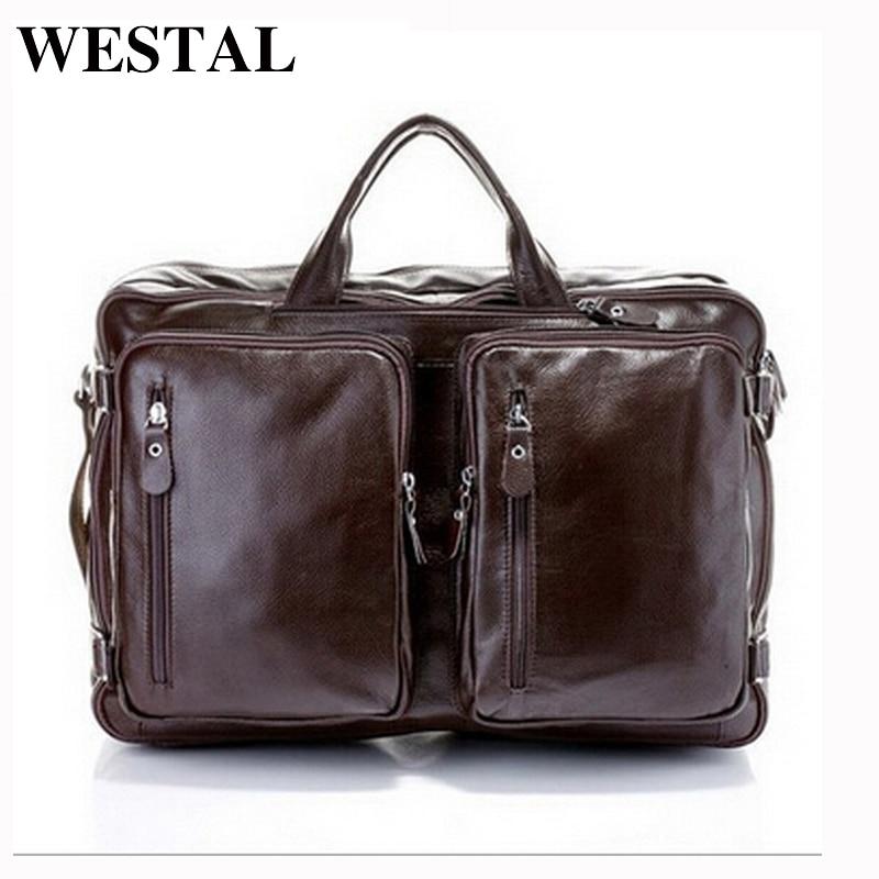 WESTAL læder laptop taske 17 ægte læder mænd tasker store business dokumentmapper computer tasker læder dokumentmappe til dokumenter