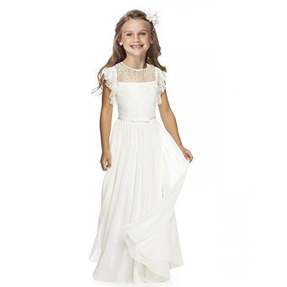 White/Ivory Flower Girls Dresses For Weddings Lace Girls Long First Communion Gown Chiffon Mother Daughter Dresses Any Size