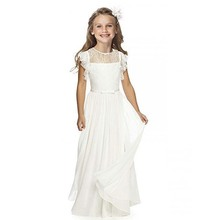 White/Ivory Flower Girls Dresses For Weddings Lace Girls Long First Communion Gown Chiffon Mother Daughter Dresses Any Size 2019 princess white ivory flower girls dresses with sash o neck lace organza girls first communion dress christmas gown any size