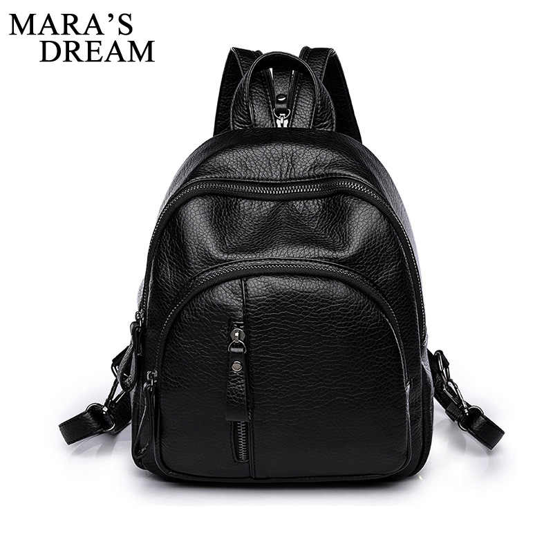 Mara's Dream Fashion PULeather Women Backpack Female Black Backpacks Small Zipper Bags Student Backpack Solid Rucksack For Girls