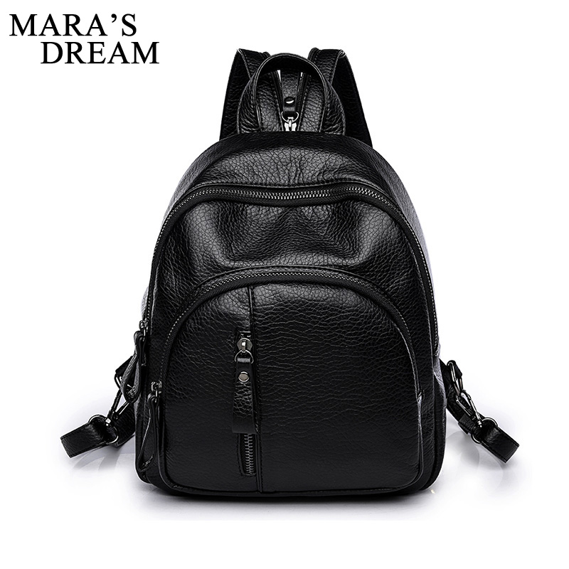 Mara's Dream Fashion PULeather Women Backpack Female Black Backpacks Small Zipper Bags Student Backpack Solid Rucksack For Girls цены