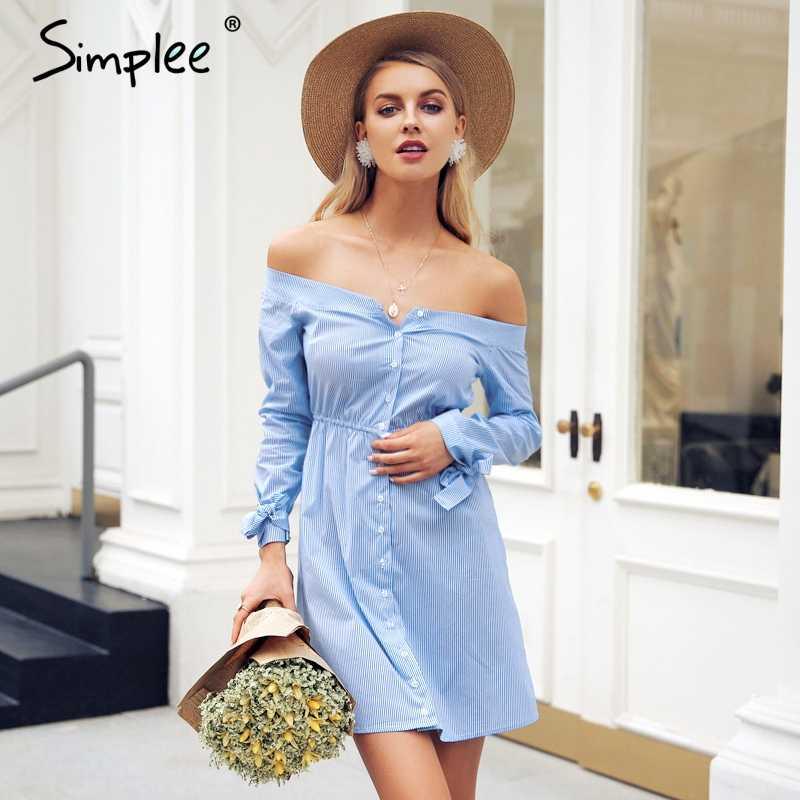 4b8374772ee Simplee сексуальное с открытыми плечами летнее платье рубашка галстук  Кнопка женское Повседневное платье уличная OL белое