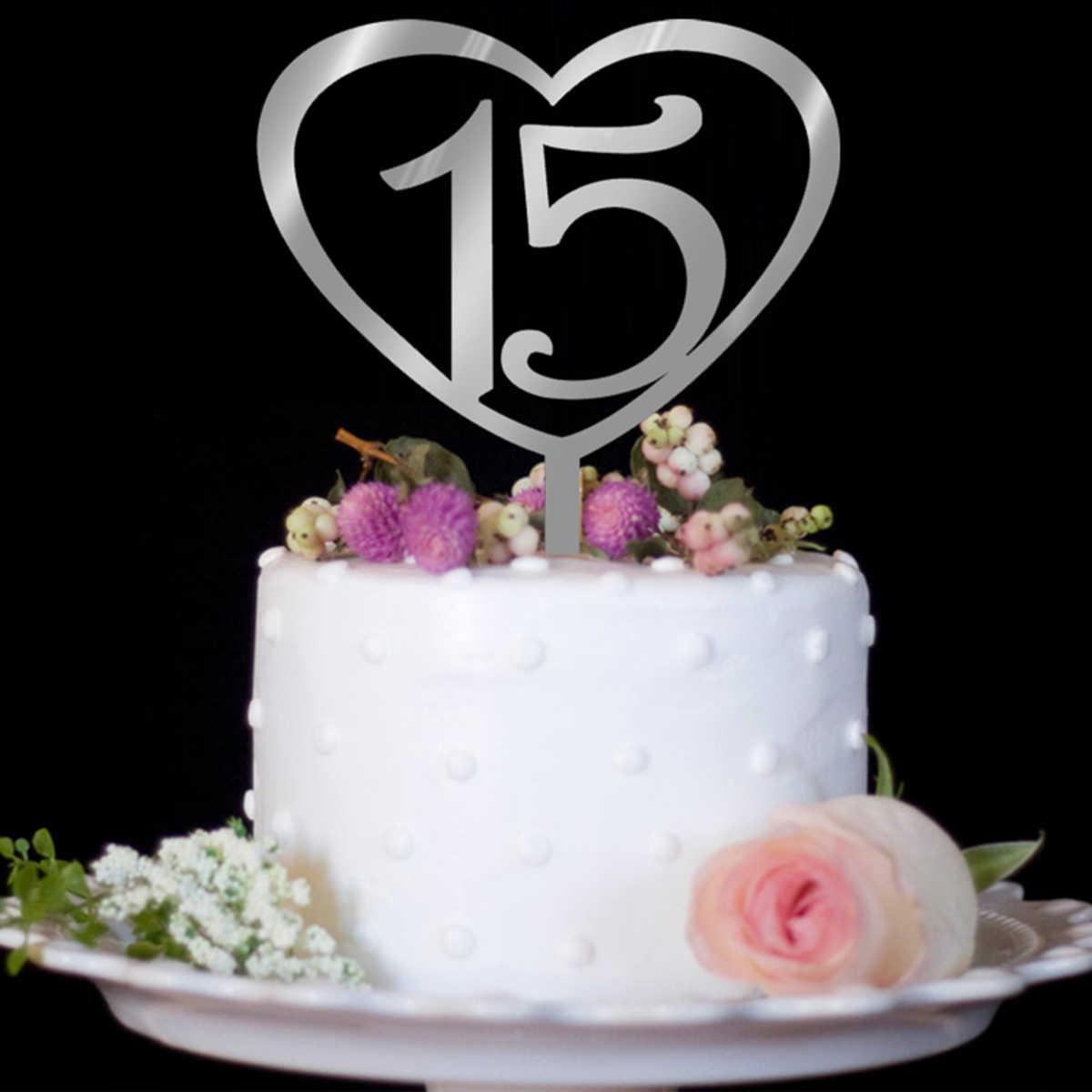 Tremendous Nicexmas Number 15 Cake Topper Love Heart Shape Acrylic Cupcake Personalised Birthday Cards Veneteletsinfo