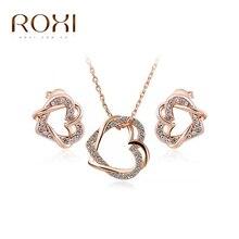 Roxi encanto dobles corazones lindos aretes de cristal/collar de cadena de joyería de moda chapado en oro rosa de regalo de boda de la madre