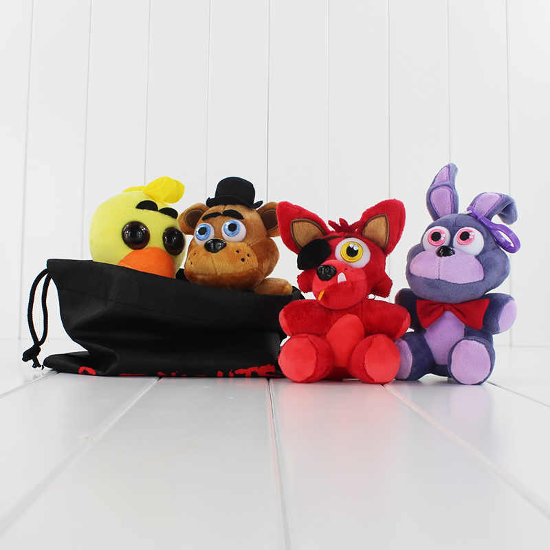 4 pçs/set no saco Dos Desenhos Animados do Filme FNAF Foxy Bonnie 5 Cinco Noites no Freddys Fazbear Febre Macio Stuffed Plush Doll Toy Chica