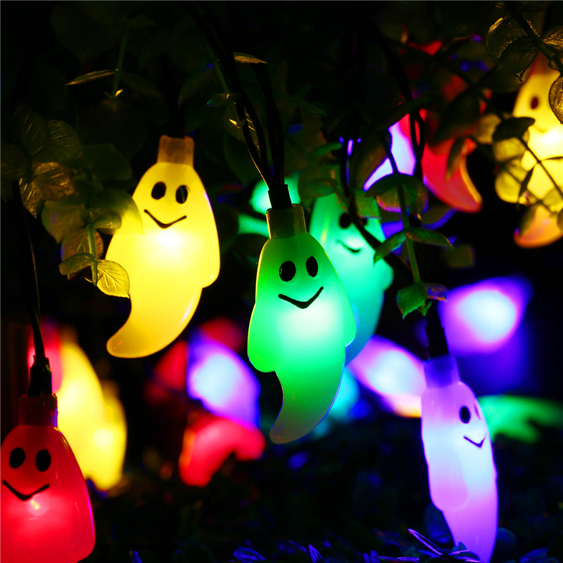 Led Outdoor Christmas Lights Reviews: Solar Outdoor String Lights 30 Led Ghost Solar Lamp Waterproof Light for  Garden Patio Yard Home LED Christmas Lights Parties,Lighting