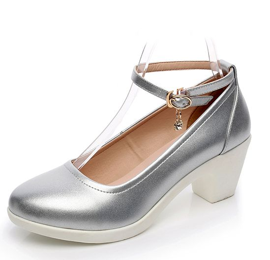 ФОТО Plus sizes genuine leather ankle straps pumps shoes woman med high heels silver white black block heel lady party shoes TG1345