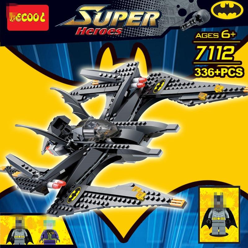 Decool 7112 336pcs Super Heros Series Batman Bat Fighter Model Building Block set Bricks Toys For children Boys Gift