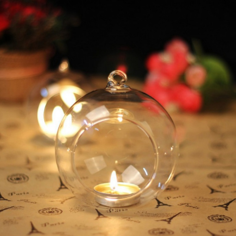 Clear Hanging Glass Candle Holder Crystal Romantic Wedding Dinner Decor Candlestick Bar Party DIY Landscape Glass Container