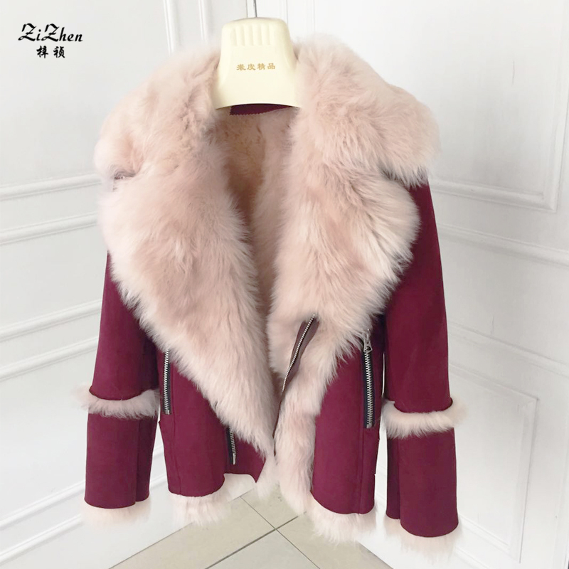 Winter Women Casual Warm Genuine Sheepskin Natural Double-faced Fur Coats Natural Lamb Fur Real Sheep Fur Wool Jacket 180427-5