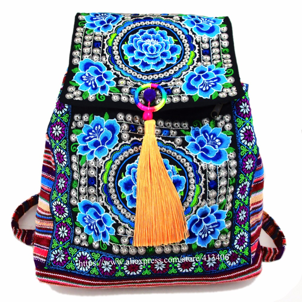 Tribal Vintage Hmong Thai Indian Ethnic Boho hippie ethnic bag, rucksack backpack bag SYS-174 chinese hmong boho indian thai embroidery brand logo backpack handmade embroidered canvas ethnic travel rucksack sac a dos femme