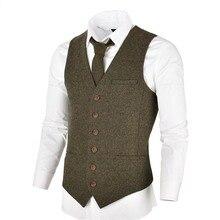 VOBOOM шерстяной твидовый мужской жилет однобортный в елочку Тонкий облегающий костюм жилеты 007