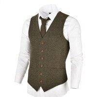 VOBOOM Wool Tweed Mens Waistcoat Single breasted Herringbone Slim Fitted Suit Vests 007