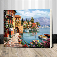 Framed Venice Resorts Seascape DIY Painting By Numbers Handpainted Oil Painting Living Room Home Wall Decor