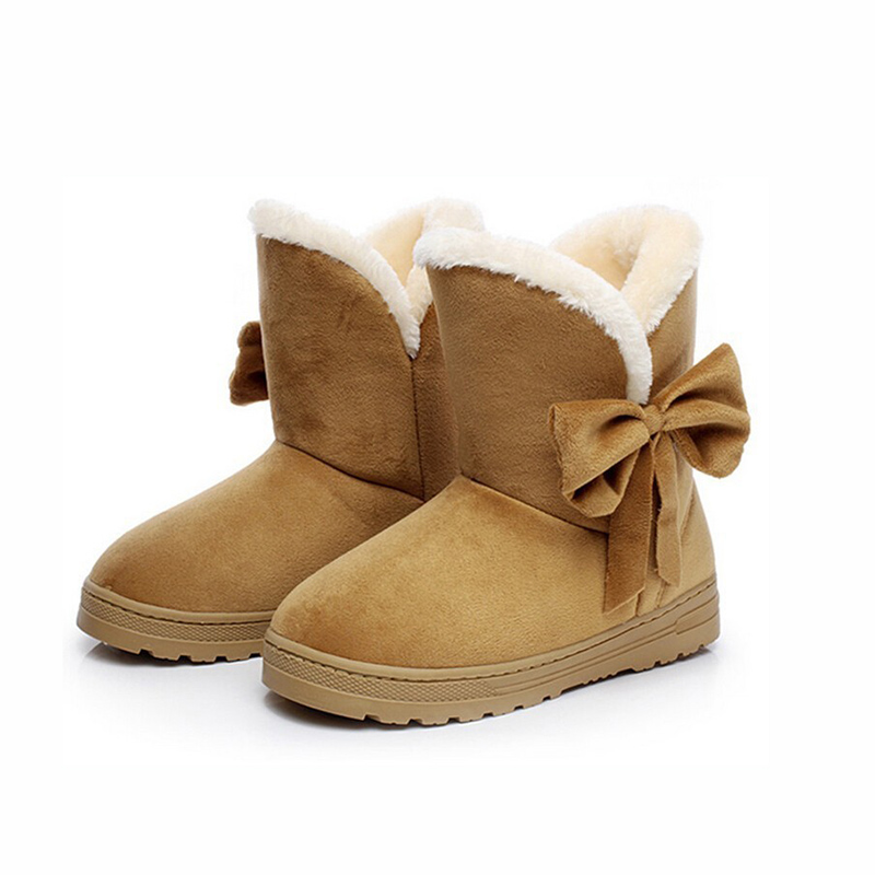 2017 New Bow Women Boots for 2016 New Boots Solid Bowtie Slip-On Soft Cute Women Snow Boots Round Toe Flat with Winter Shoes 2017 new arrival hot sale women boots solid bowtie slip on soft cute women snow boots round toe flat with winter shoes wsz31