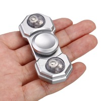 Arshinew 2017 New Kids Toy Hand Spinner LED Lights Two Pages Of Metal Hand Spinner Fidget