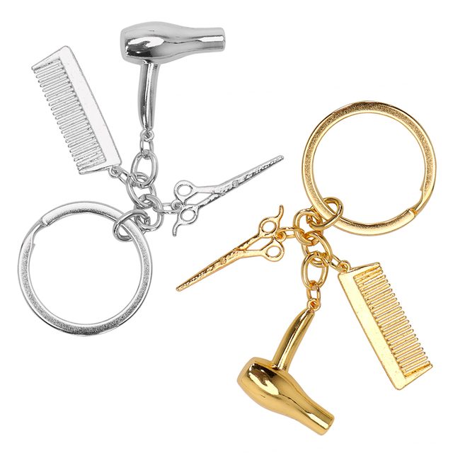 decorative keychains hairdressers gift comb scissors hair dryer car