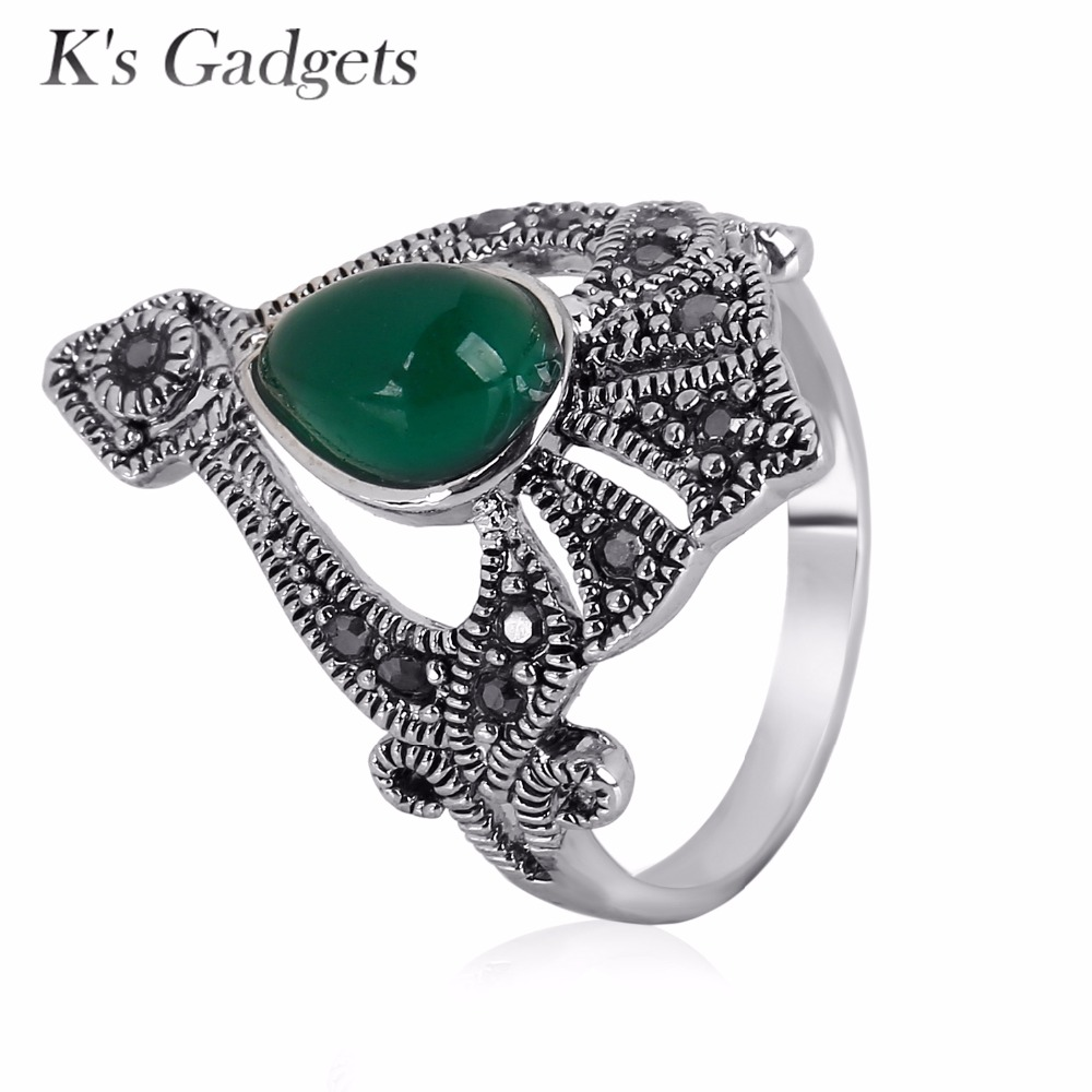 Engagement Ring Vintage Rings Big Black Red Precious Stones Antique Silver  Color Ring Retro Ladies Rings Bagues Rings For Women
